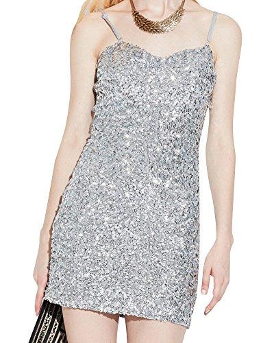 Kleid Mini Silber Pailletten (Damen Gatsby Pailletten Partei Cocktail Bodycon Sling Mini Kleid Silber)