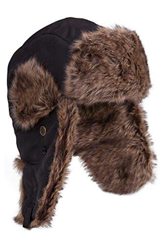 Mountain Warehouse Sombrero Unisex peludo - Forro acolchado de piel sintética para mayor calidez con la correa de la barbilla - Para caminar y esquiar este invierno Negro Talla única