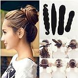 4Pcs Haar Stil Einstellen Haarknoten Maker Lang Magie DIY Werkzeug Brötchen Machen mit Haarband und Haarnadel