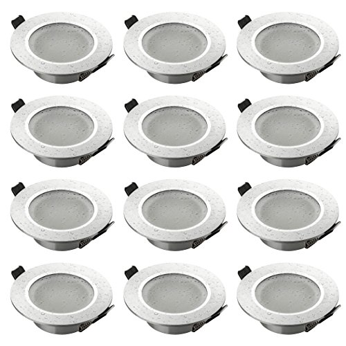 SEBSON® Einbaustrahler Badezimmer IP44, Badeinbaustrahler, Einbauleuchte Aluminium Silber, inkl. GU10 Fassung (LED, Halogen), 12er Pack