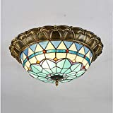 Tiffany Style LED Ceiling Light 16 Zoll mediterrane Pastoral für Schlafzimmer Ceiling Aisle Hall Light Bar Cafe Light Balcony Ceiling Light