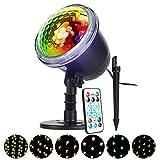 LED Projektor Weihnachtsbeleuchtung, ALED LIGHT 4 Muster Projektor Lampe Wasserdicht Projektionslampe Außen Schneeflocke Lichtprojektor mit Fernbedienung für Weihnachtsbaum Party Innen und Außen Decor