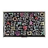 Visitenkartenetui schwarz Perlmutt Graviert-Kreditkarten Etui klein Geldbörse oder Tec oder Tür Dokumente oder-Münzen mit Motiv Konsonanten Alphabet Koreanisch aus Metall Edelstahl