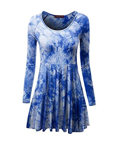 Minetom Damen Frühling Herbst Stilvoll Langarm Krawatte Dye Minikleid Sexy Große Größen Plissee Kleider Rundhals Partykleid Blau DE 34