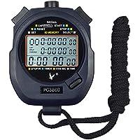 CALESI Digital Professional Handheld LCD Sports Stopwatch Three-Row 60 Memories Lap