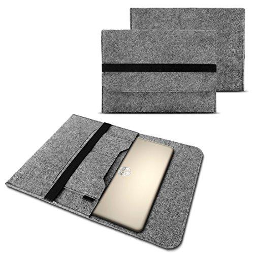 Tasche Hülle für Laptop Case Ultrabook Cover Notebook 15 - 15.6 Zoll Filz Sleeve Schutzhülle Bag aus strapazierfähigem Filz in Grau mit Innentaschen und sicheren Verschluss von NAUC, Farben:Hell Grau, Notebook:Fujitsu Celsius H760