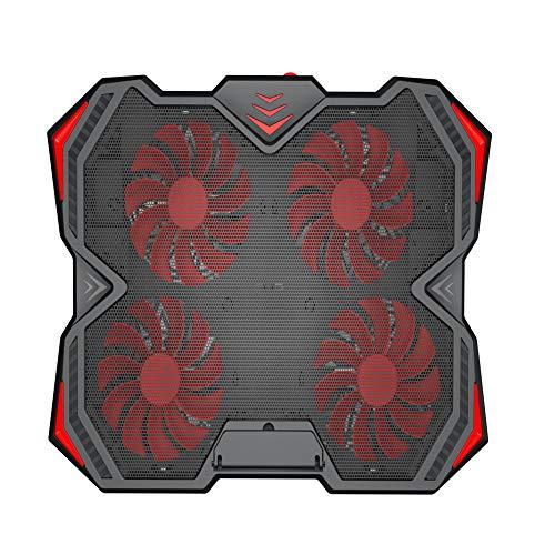 BEESCLOVER Laptop-Kühler, 4 leise, LED-Lichter, Dual-USB-Ports, für 30,5-43,2 cm (12-17 Zoll), Rot