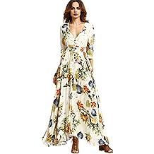 95360beefa2 Robe Longue Femme Boheme Manche 3 4 Été Tunique Col V Fleurie Vintage Hippie  Chic