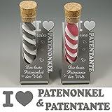 Gravure Events 1 Patenonkel + 1 Patentante - Geschenk zur Taufe, Weihnachten, Geburtstag.