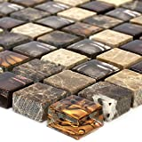 Mosaikfliesen Glas Naturstein Beige Braun 15x15x8mm