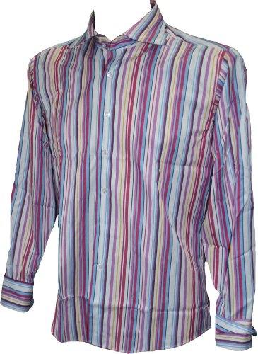 Bright-maglia a strisce con polsino & gemelli, black yellow pink lilac white