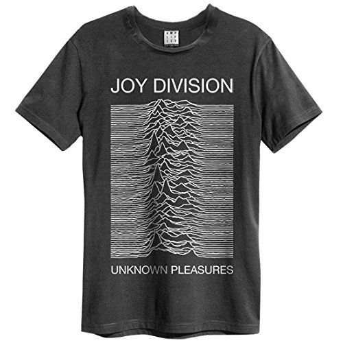 Amplified Joy Division-Unknown Pleasures Camiseta, Gris (Charcoal CC), XXL para Hombre
