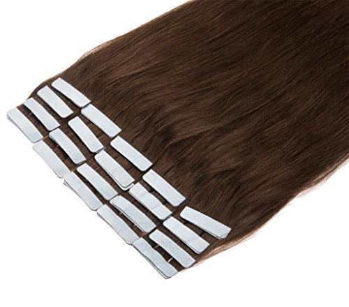 16 24 Inch Color Long 17 Colors 5 Length Tape In Premium Remy Human Hair Extensions 20 Pcs Set 70g Weight Straight Women Beauty Salon Style Design (18inch 40g With 20pcs, 04 Medium Brown)