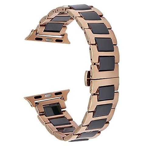 TRUMIRR Bracelet de bracelet en céramique Tous les liens amovibles pour iWatch Apple Watch / Sport / Edition 42mm seulement