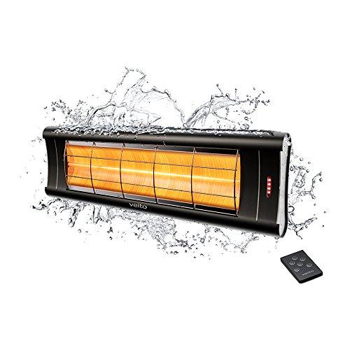 Veito Aero S Infrarot Heizstrahler , Leistung bis zu 2500 Watt , Infrarot-Fernbedienung , Terrassenheizer mit 4 Heizstufen , spritzwassergeschützt , Infrarot-Heizung für Innen- und Außenbereich , elektrischer Infrarotstrahler