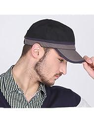 WF:sombrero de las señoras sombrerería del sombrero al aire libre de la moda masculina de Corea del cap cap cap plano simple ocio de los hombres ( Color : Negro )