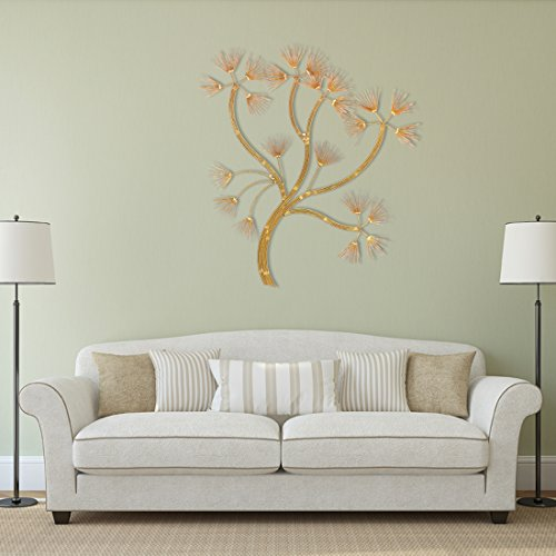 Tree of Life Gold Finish Decorative Wall Art Hanging Sculpture
