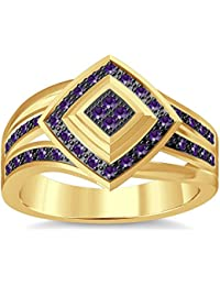 Silvernshine 1.35Ctw Round Cut Amethyst Simulated Diamonds 14K Yellow Gold Plated Engagement Ring