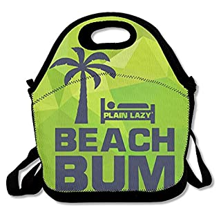 Hoeless BEACH BUM Insulated Lunch Tote With Zipper,Carry Handle And Shoulder Strap For Adults Or Kids Black