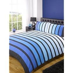 Brillo De Rayas Rayas Azules Colcha Conjunto De Funda Nórdica - Azul, Double