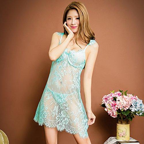 lpkone-Lingerie sexy chemise sangle fine dentelle transparente dames chemise longue vêtements taille: taille moyenne, vert Green