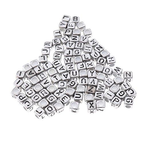 Homyl 100 pcs Würfel Alphabet Buchstaben Spacer Perlen Spacer Zwischenperlen Schmuck DIY Basteln - Silber, 6mm (Alphabet Perlen Silber)