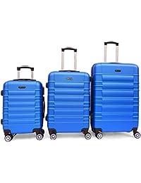 SHAIK® 3-tlg. DESIGN CLASSIC Hartschalen Kofferset, Trolley, Koffer, Reisekoffer, 45/78/124 Liter, 4 Doppelrollen,