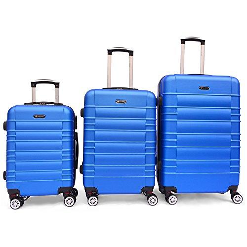 SHAIK SerieCLASSIC JFK Design Hartschalen Trolley, Koffer, Reisekoffer 4 Doppelrollen Zwillingsrollen, Zahlenschloss (Set, Dunkelblau)