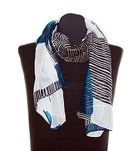 Striessnig Wien - Weißer Damenschal Damentuch mit petrol und schwarzen Streifen, trendiges elegantes Damen Schaltuch, ca. 90 x 180 cm