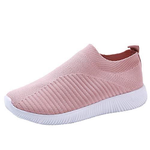 YWLINK Damen Socken Schuhe Outdoor Schuhe Freizeit Slip On Bequeme Sohlen Sports Licht Atmungsaktiv Mesh Sneakers Laufschuhe Turnschuhe Fitnessschuhe Bequeme Schuhe(Rosa,43 EU)
