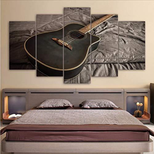 zxfcczxf sans Cadre HD Toile Imprimé Peinture Mur Art Modulaire Affiche Moderne Cadre 5 Panneau Classique Guitare Musique Home Decor Salon Photos