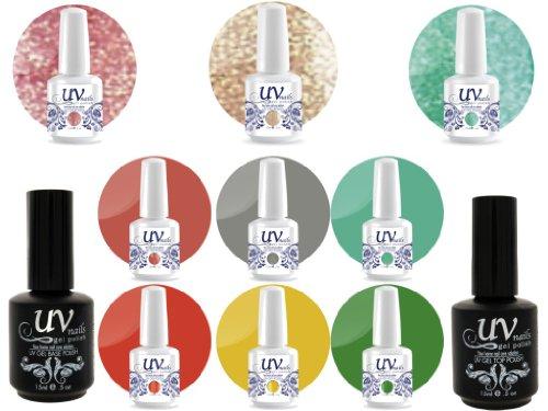 UV Nail Gel Proffesionel Collection Lollipop 3 Paillettes Vibrante+6 Gels+Base&Top+Polissoir a Ongles Aviva