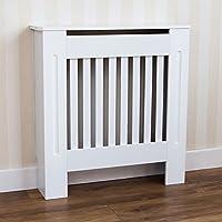 Home Discount Chelsea - Tapa para radiador de pizarras modernas con listones para parrilla, armario de MDF pintado en blanco, tamaño pequeño