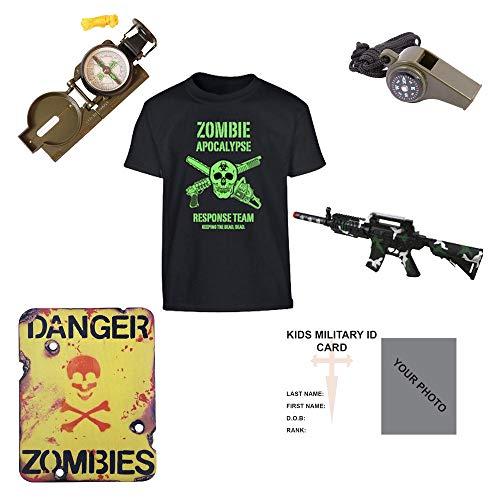 Kinder Pack Z1Zombie Apocalypse Survival Kit T-Shirt Kompass Spielzeug Gun Whistle Schild-freie Kontakt links Kinder Army/Military ID Card.-MTP