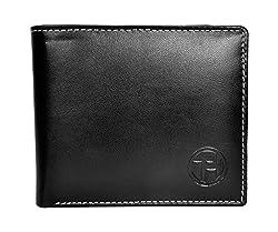Chandair Pure Leather Black Mens Wallet (WL-002_White_Stitch)