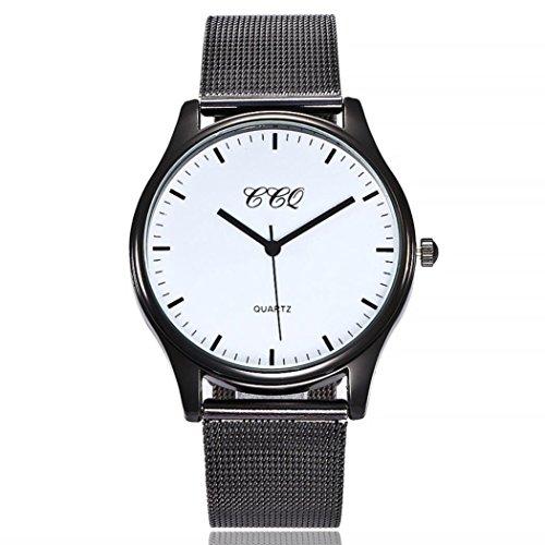 Uhren Dellin Uhren Damen Beiläufige Stahlstreifen Quarz Edelstahl-Band-Marmorband-Uhr-analoge Armbanduhr (F)