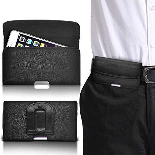 (Black) Rivero PU Leather Premium Horizontal Clip On Smart Belt Pouch Case Cover Holder Flip Magnetic Button Elasticated Phone Holder For Samsung Galaxy J3 Emerge