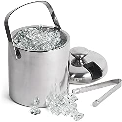 Bar@drinkstuff Double Walled Ice Bucket With Tongs Inside Lid 1.5ltr Insulated Stainless Steel Ice Bucket