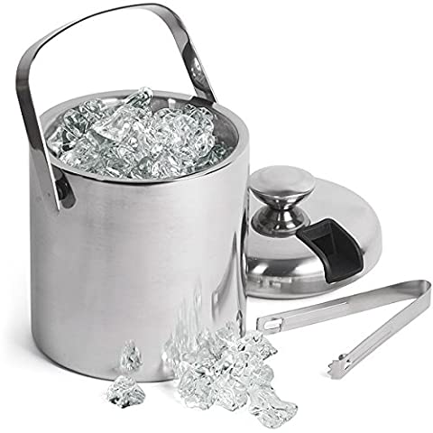 Double Walled Ice Bucket With Tongs Inside Lid 1.5ltr |