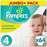 Pampers - Premium Protection - Couches Taille 4 (9-14 kg) - Jumbo+ Pack (x64 couches)
