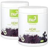 nu3 Premium Bio Acai-Beeren-Pulver, 2x 65g - Rohkost-Qualität durch schonende Trocknung der Power-Beeren vom Amazonas