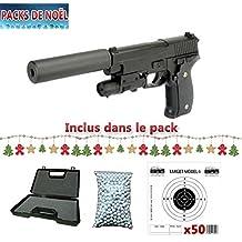 Galaxy G26A Paquete de Navidad con pistola Sig Sauer P226 para airsoft, con silenciador, totalmente de metal, con muelle, recambio manual, maletín, balines y 50 blancos de regalo (0,4 J)