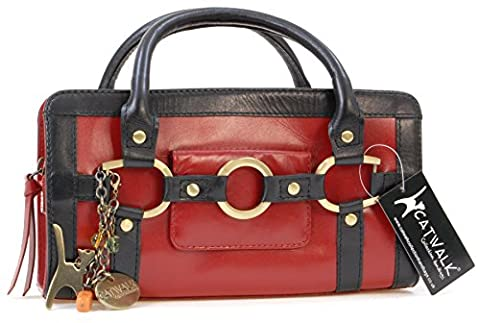 Catwalk Collection Leather Grab Bag - Milan - Red and Black