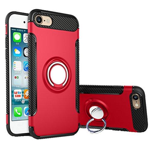 Bestsky iPhone SE/5/5s Hülle mit Ring Ständer, Telefon Handyhülle mit Halterung Halter Kickstand Silikon Stoßfest Rüstung Bumper Case Cover für iPhone SE/5/5s(4.0 Zoll), Rot