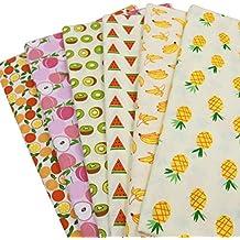 6pcs/lot 40cm * 50cm Frutas Impreso Algodón Tela Tissu hecho a mano material de costura de costura para PATCHWORK telas