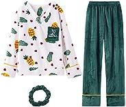 GOSO Pijama para niñas 8 9 10 11 12 13 14 años de Invierno cálido Pijama para niñas Adolescentes Tops y Pantal