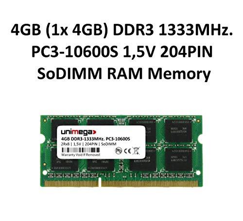 unimega 4GB (1x 4GB) DDR3 1333MHz PC3-10600S SoDIMM 204PIN 1,5V Notebook Laptop RAM Arbeitsspeicher Memory -