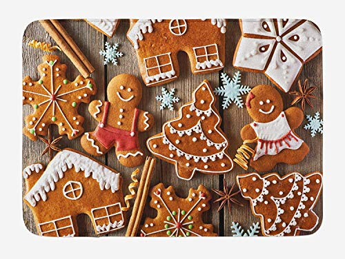 MSGDF Gingerbread Man Bath Mat, Tasty Looking Traditional Cookies Little Snowflakes Cinnamon, Plush Bathroom Decor Mat with Non Slip Backing, 23.6 W X 15.7 W Inches, Umber Pale Brown White