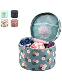 TQWMU Portable Waterproof Portable Round Barrel Bra Underwear Lingerie Cover Holder Organizer Bag Cosmetic Makeup...