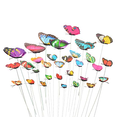 F.lashes 40 Stück Garten Schmetterlinge Stangen Garten Ornamente für Hof Patio Party Dekorationen Lieferungen Schmetterlinge auf Stöcken